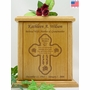 Cross Forever in my Heart Poem Engraved Wood Cremation Urn