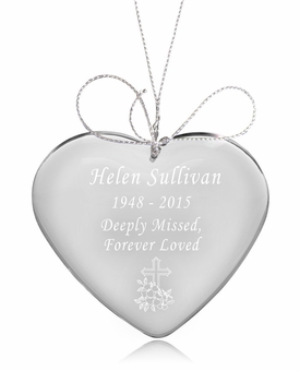 Cross Heart Crystal Memorial Ornament