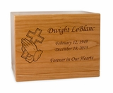 Cross in Praying Hands Manchester Solid Cherry Wood Cremation Urn
