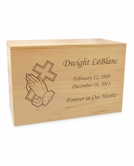 Cross in Praying Hands Solid Maple Wood Cremation Urn