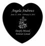 Cross Laser-Engraved Heart Plaque Black Granite Memorial