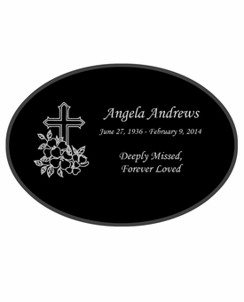 Cross Laser-Engraved Oval Plaque Black Granite Memorial