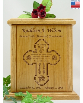 Cross Losing You Poem Engraved Wood Cremation Urn