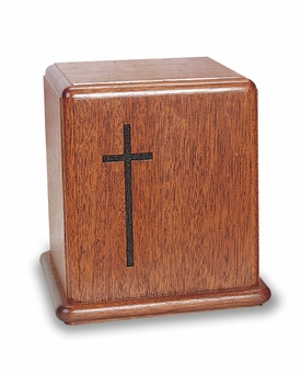 Cross Mahogany Cremation Urn - Engravable