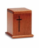 Cross Mahogany Keepsake Cremation Urn - Engravable