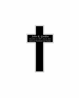 Cross Nameplate - Engraved Black and Silver - 1-3/4  x  3