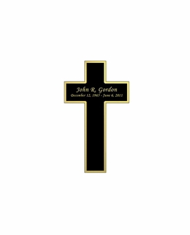 Cross Nameplate - Engraved Black and Tan - 1-3/4  x  3