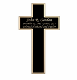 Cross Nameplate - Engraved Black and Tan - 3  x  5