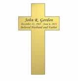 Cross Nameplate - Engraved - Gold - 3  x  5