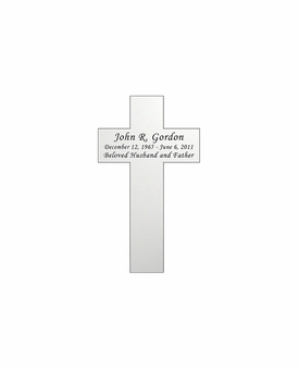 Cross Nameplate - Engraved - Silver - 1-3/4  x  3