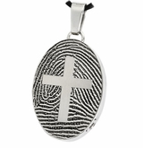 Cross over Fingerprint Oval Stainless Steel Memorial Cremation Pendant Necklace