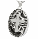 Cross over Fingerprint Oval Sterling Silver Memorial Cremation Pendant Necklace