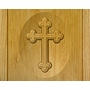 Cross Relief Carved Engraved Wood Cremation Urn
