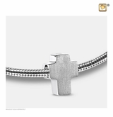 Cross Rhodium Plated Sterling Silver Cremation Jewelry Bead