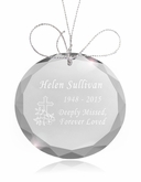 Cross Round Crystal Memorial Ornament