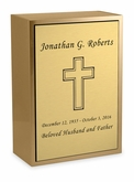 Cross Sheet Bronze Inset Snap-Top Niche Cremation Urn with Engraved Plate