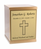 Cross Sheet Bronze Overlap Top Cremation Urn with Engraved Plate