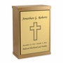 Cross Sheet Bronze Overlap Top Niche Cremation Urn with Engraved Plate