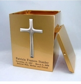 Cross Sheet Bronze Snap-Top Cremation Urn