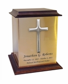 Cross Sheet Bronze With Walnut Trim Snap-Top Cremation Urn