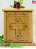 Cross Tears Poem Engraved Wood Cremation Urn