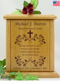 Cross Vine With Poem Engraved Wood Cremation Urn