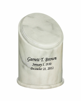 Crown White Marble Engravable Cremation Urn