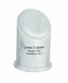 Crown Youth White Marble Engravable Cremation Urn