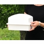 Crowne Compact Coronet White Cremation Urn Burial Vault with Temporary Cremation Urn