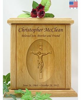 Crucifix Relief Carved Engraved Wood Cremation Urn
