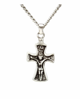 Crucifix Sterling Silver Cremation Jewelry Necklace