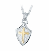 Crusader Shield Sterling Silver with Gold Cremation Jewelry Pendant Necklace