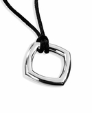 Cushion Polished Sterling Silver Cremation Necklace Pendant