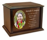 Dedication Custom Photo Wood Cremation Urn - 3 Sizes - 3 Photo Shapes