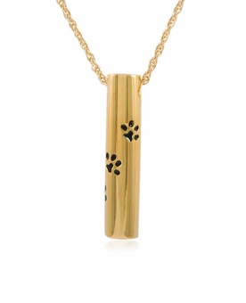 Cylinder with Paw Prints Gold Vermeil Pet Cremation Jewelry Necklace