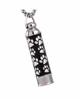 Cylinder with Paw Prints Stainless Steel Memorial Cremation Pendant Necklace Jewelry for Ashes