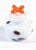 Dalmation Spotted With Orange Bone Lid Hand Blown Cremation Urn
