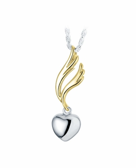 Dangle Heart Sterling Silver with Gold Cremation Jewelry Pendant Necklace