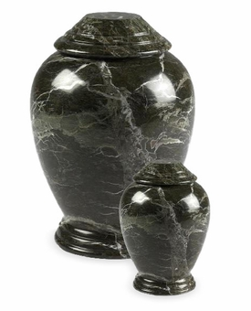 Dark Green Modern Marble Cremation Urn
