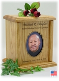 Decorative Oval Photo Insert Engraved Wood Cremation Urn