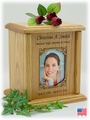 Decorative Rectangle Photo Insert Engraved Wood Cremation Urn