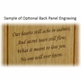 Rectangle Photo Insert Engraved Wood Cremation Urn