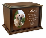Dedication Custom Photo Wood Pet Cremation Urn - 3 Sizes - 3 Photo Shapes