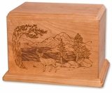 Deer Cherry Wood Newport Laser Carved Cremation Urn