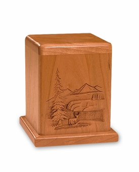 Deer In The Wilderness Scene Cherry Keepsake Cremation Urn