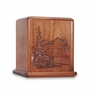 Deer In The Wilderness Scene Mahogany Cremation Urn - Engravable