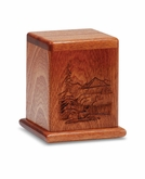 Deer In The Wilderness Scene Mahogany Keepsake Cremation Urn - Engravable