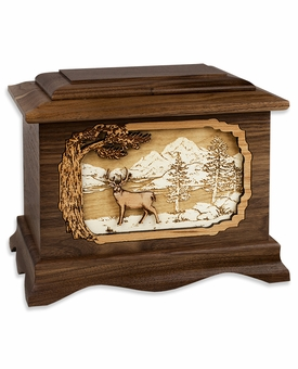 Deer with 3D Inlay Walnut Wood Cremation Urn