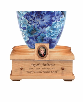 Deluxe Heirloom Cherry Wood Cremation Urn Pedestal