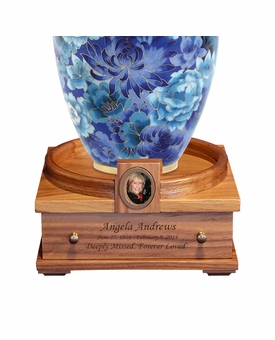 Deluxe Heirloom Walnut Wood Cremation Urn Pedestal